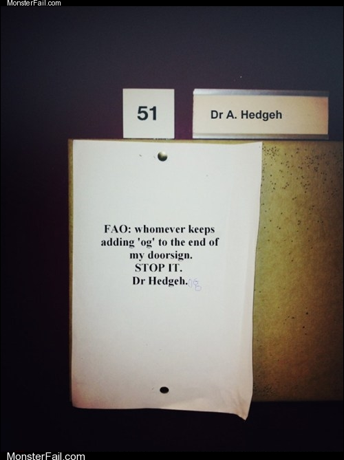 job fails: Sir, I Think It Was Dr. Rob From Down the Hall