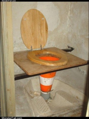 White trash repairs  Toilet Under Construction