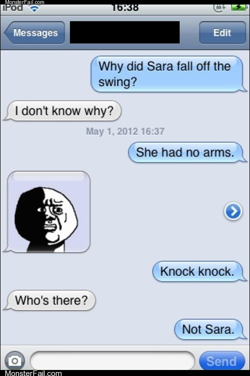 Mobile phone texting autocorrect  If You Ask Me Sara Shouldnt Have Been on the Swing in the First Place