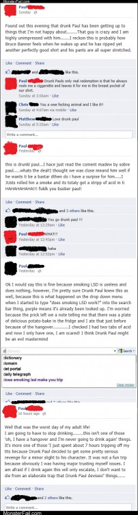 Funny facebook fails  Sober Paul vs Drunk Paul