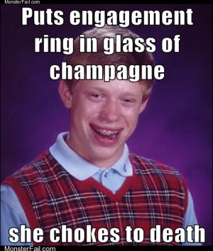 Puts engagement ring in glass of champagne she chokes to death