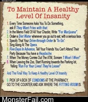 Healthly Level Of Insanity Instructions