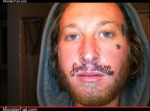 Funny tattoos Ugliest Tattoos Your Whole Family is Fked Up