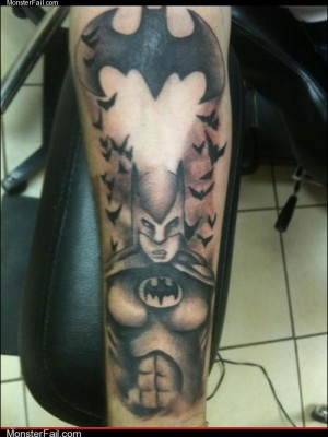 Funny tattoos Ugliest Tattoos Nice Breasts Batman