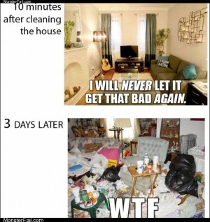 Cleaning the house