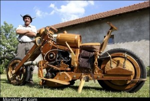 White trash repairs  TIFI WIN Hungarian Man Builds Motorcycle Out of Wood