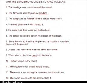 Homework class test  ESL 101 English is the Worst