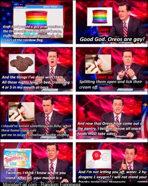 Colbert on Rainbow Oreos