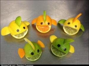 Friend on Facebook works at Woolies, made fish out of citrus fruits