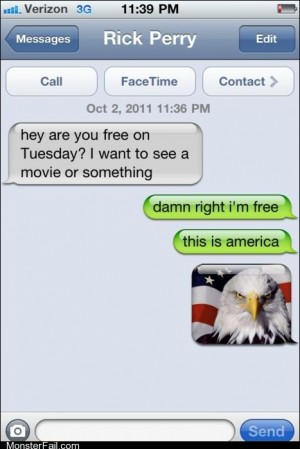Mobile phone texting autocorrect  Classic Happy 4th of July