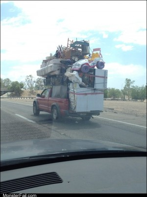 White trash repairs Oversize Loads Road Jenga