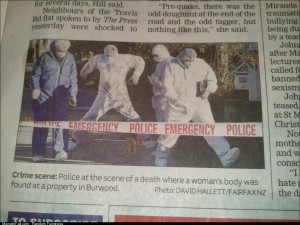 The timing of this photo makes it look like the policeman is dancing on the crime scene
