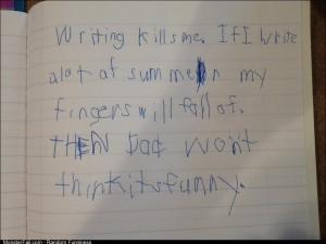 My friend makes his kids practice writing over their summer break