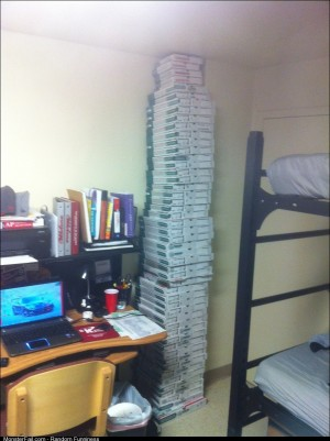 Turns out my dorm room is 52 pizza boxes tall