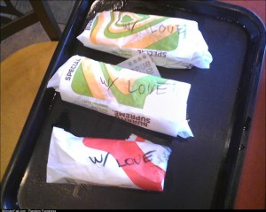 Taco Bell made my friends tacos with love today