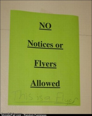 No Notices Of Flyers