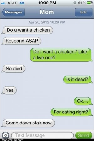 Mobile phone texting autocorrect This Kills the Chicken