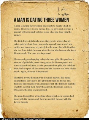 A man is dating 3 women