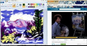 I decided to put on a Bob Ross video and follow along in MS Paint