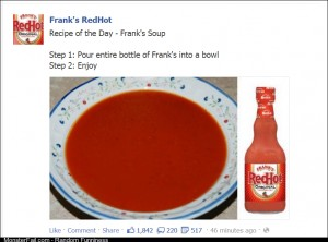 Franks Red Hot posted a delicious soup recipe on FB today