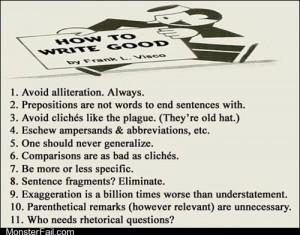 Homework class test Grammar 101 How to Write Good