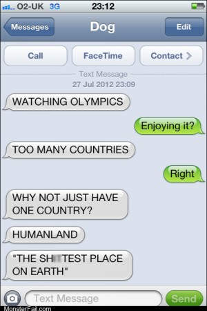 Mobile phone texting autocorrect I Guess Dog Doesnt Like the Olympics