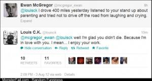 Louis CK and Ewan McGregor have an exchange on twitter