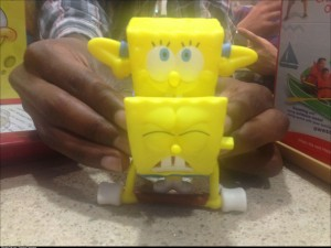So my friends got a couple Happy Meal toys at McDonalds and if you put 2 of the spongebob toys together