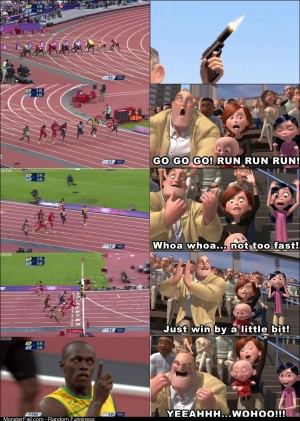 Every time I see Usain Bolt race I cant help but imagine this