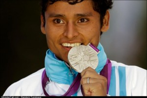 Here is a picture of the only Guatemalan to ever win a medal in the Olympics