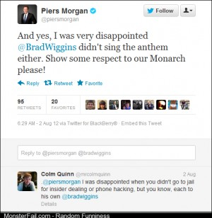 Brilliant reply to Piers Morgan over his constant complaints on twitter about GB Athletes not singing the national anthem