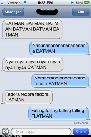 Mobile phone texting autocorrect BATMAN