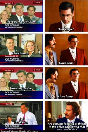 Side by side comparison of Romney with Anchorman The Legend of Ron Burgundy