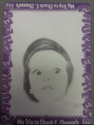 Let my niece run around ChuckECheese she comes back with this