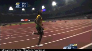 Usain Bolt holding out the baton to an official and then pulling it away is one of the greatest things ever