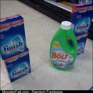 Bolt crossing the finish line