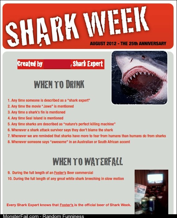 My Shark Week drinking game