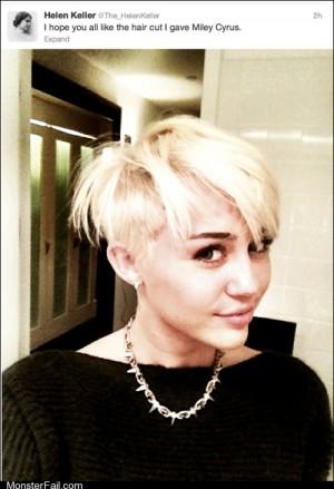 Funny facebook fails Helen Keller on Miley New Haircut