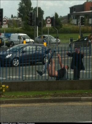 Just sitting in KFC watching a dumb ass get stuck whilst climbing over a fence