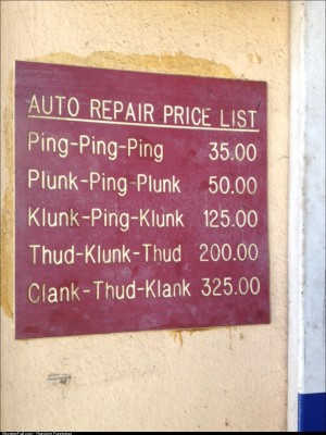 A sign at my local mechanic