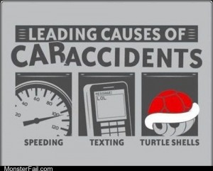 Mobile phone texting If Texting and Driving You Dodge the Red Shells