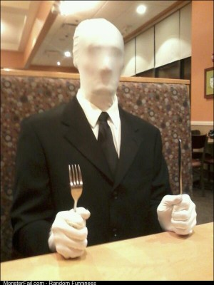 So my friend decided to dress up as Slender Man and go to Ihop