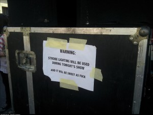 Warning at a local music festival