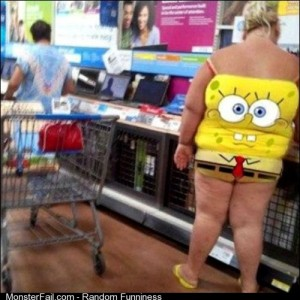 She sat on SpongeBob