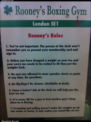Rooneys boxing gym rules