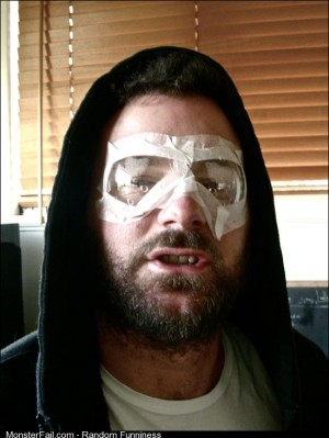 This was me a few hours after getting laser eye surgery my friend said i looked like the shittiest superhero ever