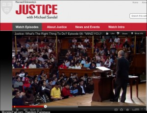 I was watching a seminar on justice and I noticed someone in the lecture and thought