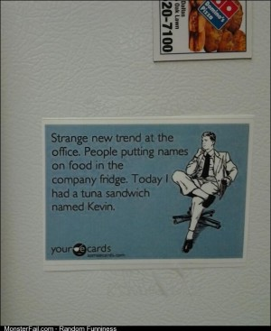 On the fridge at my office