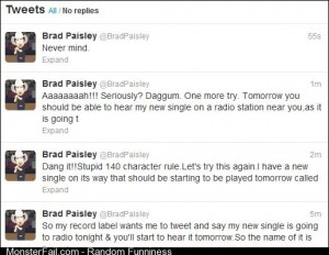 Brad Paisley to promote a new song on Twitter