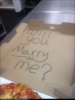 A guy asked us to write on his pizza box to cheer up my